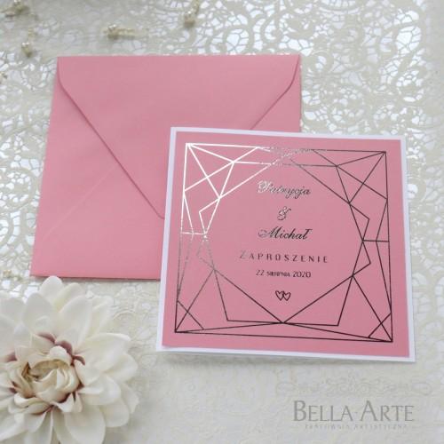 Zaproszenia ślubne Złocone Geometryczne Glamour