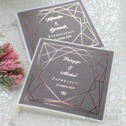 Geometryczne zaproszenia złocone