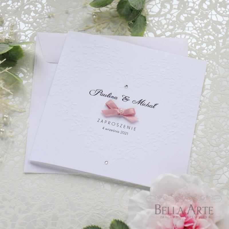 Eleganckie i proste Zaproszenia na ślub Cywilny z tłoczeniem SERCE