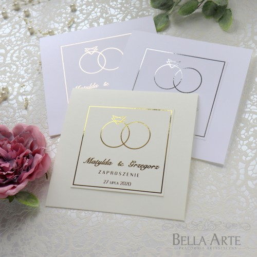 Zaproszenia ślubne Złocone Glamour