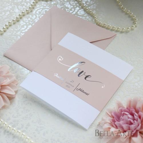 Love Zaproszenia ślubne Złocone Glamour