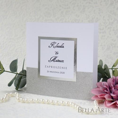 Zaproszenia ślubne z brokatem Mirror