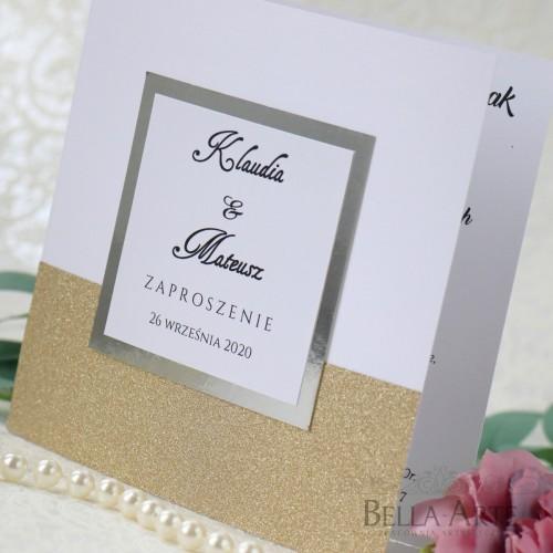 Zaproszenia ślubne z brokatem Glamour