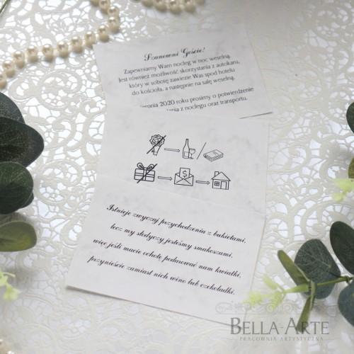 Bileciki ślubne do zaproszeń Marmur