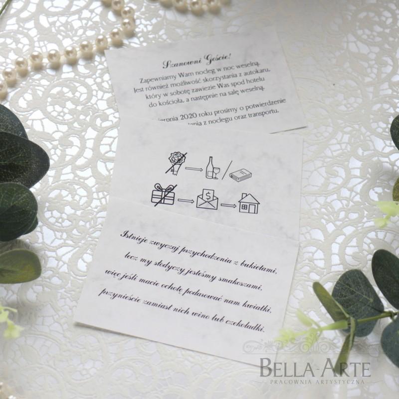 Bileciki do zaproszeń Marmur