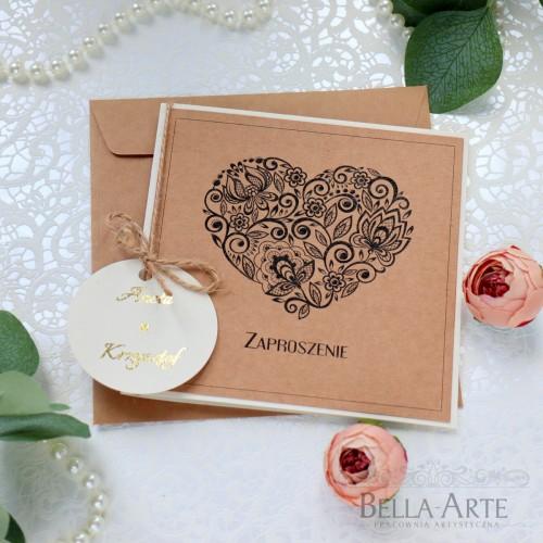 EKO Zaproszenia ślubne Rustykalne z sercem