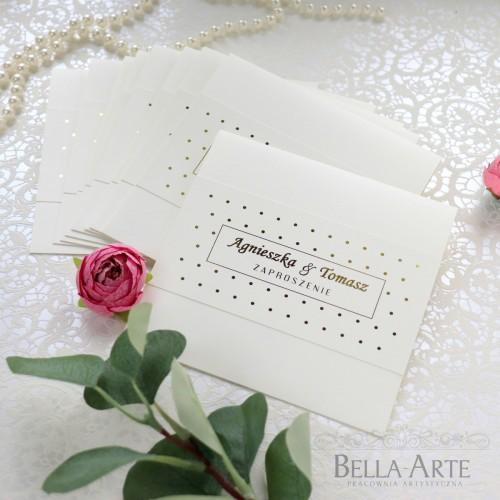 Zaproszenia ślubne Złocone Kropki Glamour
