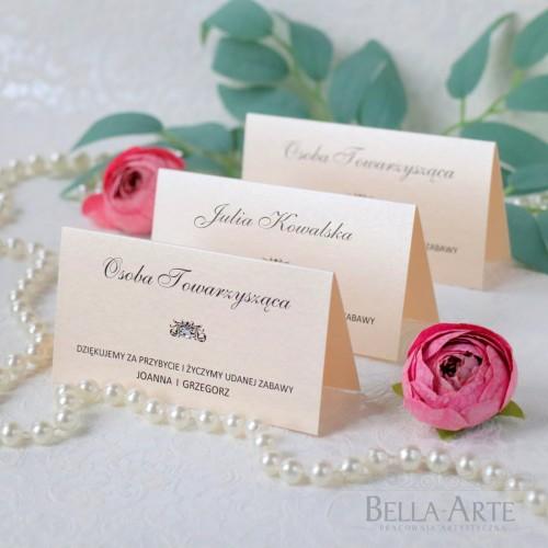 Winietki na stół Elegante Perłowe