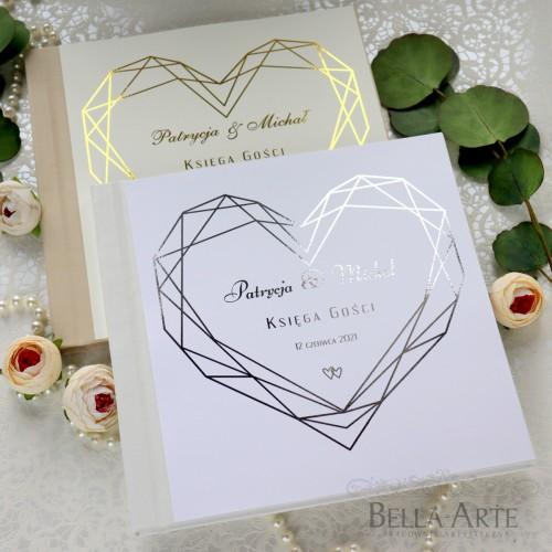 SERCE Geometryczna Złocona Księga wpisów weselnych