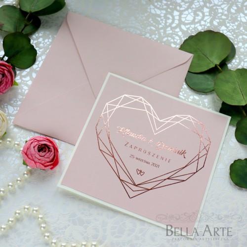 Geometryczne Serce Zaproszenia ślubne Złocone Glamour