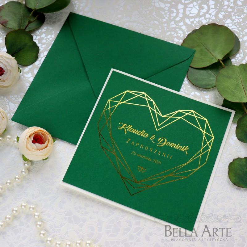 Geometryczne serce zaproszenia złocone