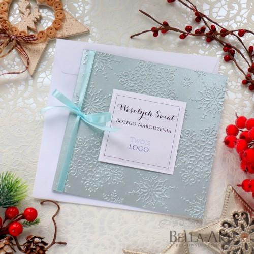 Perłowe kartki świąteczne dla firm z LOGO