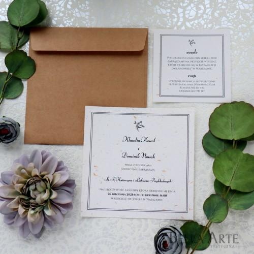 Eleganckie jednokartkowe zaproszenia ślubne