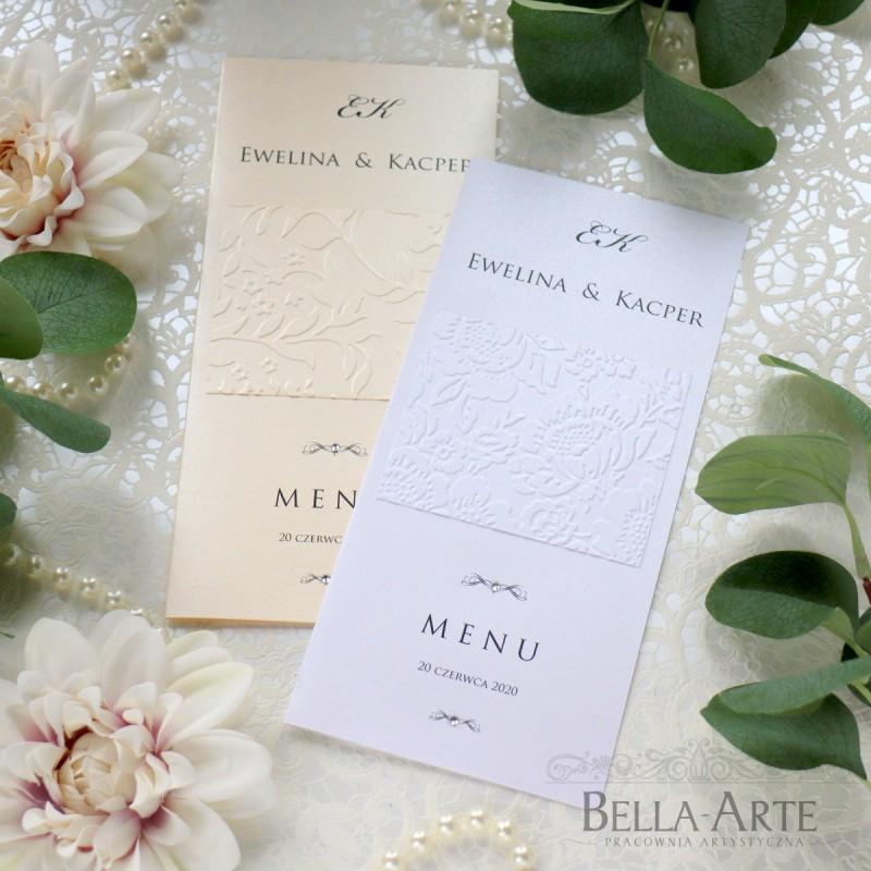Menu weselne karta dań z tłoczeniem