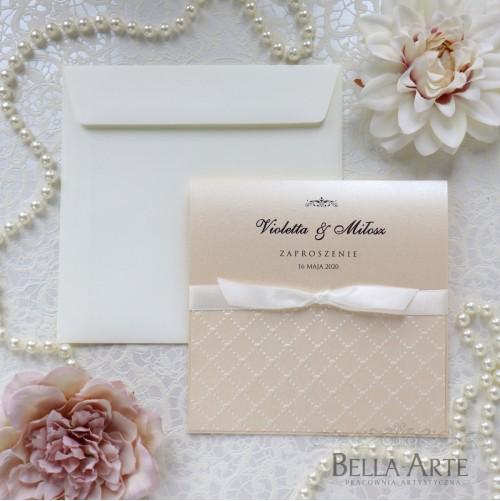Zaproszenia ślubne perłowe Amelia