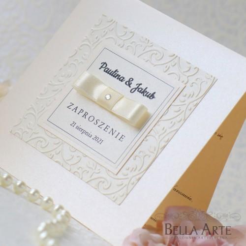 Perłowe zaproszenia na ślub Amelia