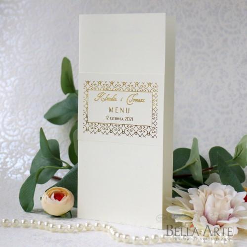 Złocone Menu weselne
