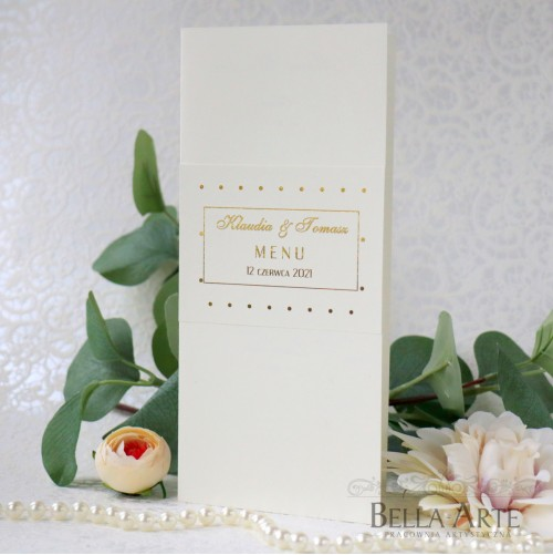 Złocone Rose Gold Kropki Menu weselne