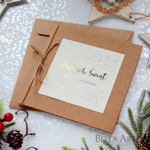 Ekologiczne kartki świąteczne ze złoceniem dla firm LOGO