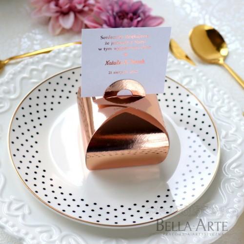 Eleganckie pudełeczka dla gości podziękowanie Rose Gold