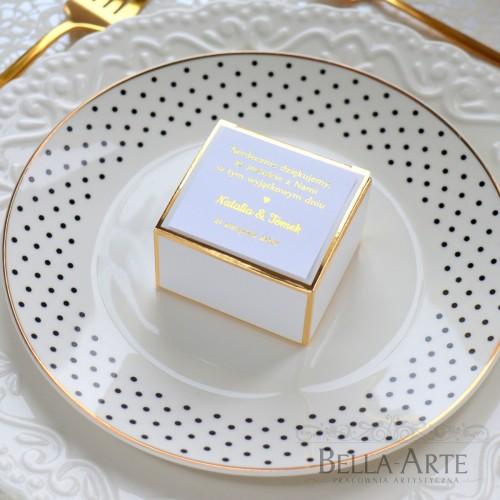 Eleganckie pudełeczka podziękowanie Złoty Rant