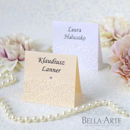 Perłowe winietki dla gości na stół Antonella