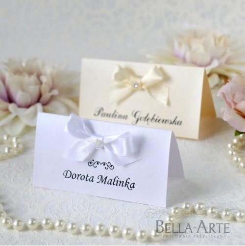 Perłowe winietki na stół Eleganckie