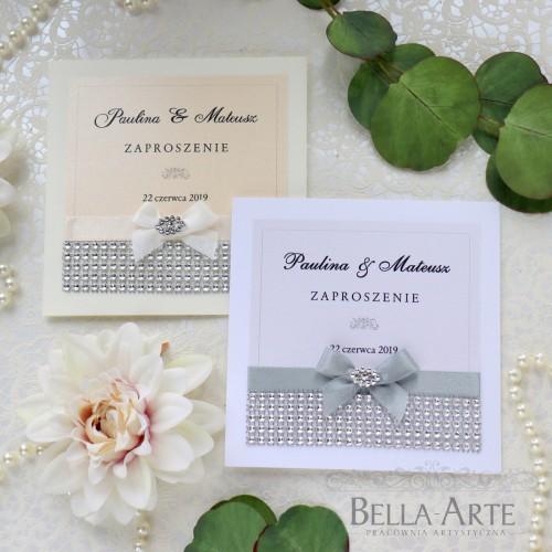 Zaproszenia ślubne Glamour z kryształkami srebrne
