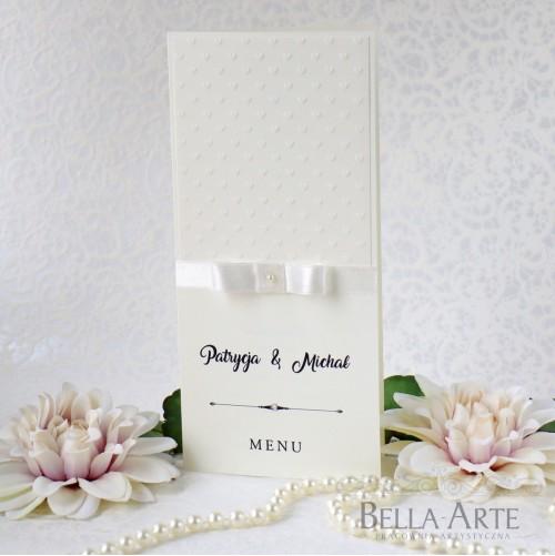 Klasyczne menu weselne z tłoczeniem Amelia