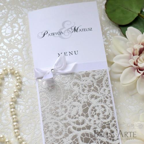 Menu weselne z koronką lub ornamentem