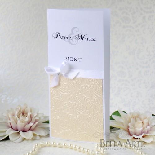 Menu weselne z kolorowym tłoczeniem