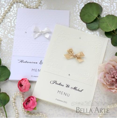 Menu weselne z tłoczeniem do wyboru Torello