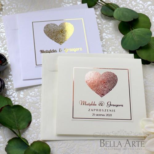 Serce Złocone Srebrne Zaproszenia ślubne Glamour Rose Gold
