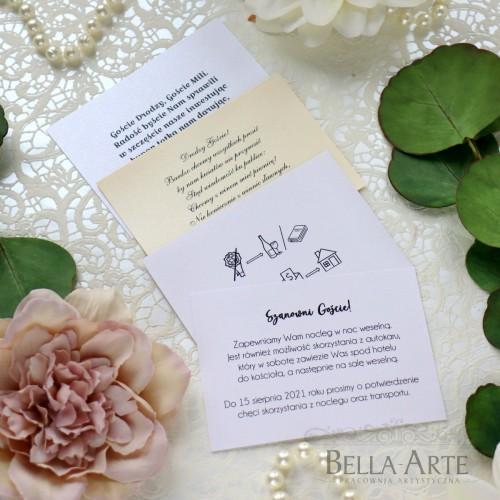 PERŁOWE bileciki ślubne do zaproszeń