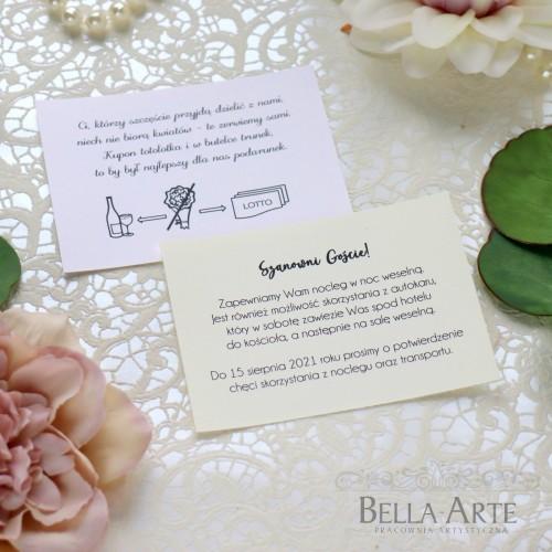 Bileciki ślubne do zaproszeń