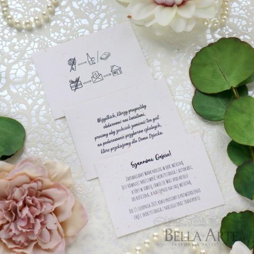 Eko złote drobinki bileciki ślubne do zaproszeń