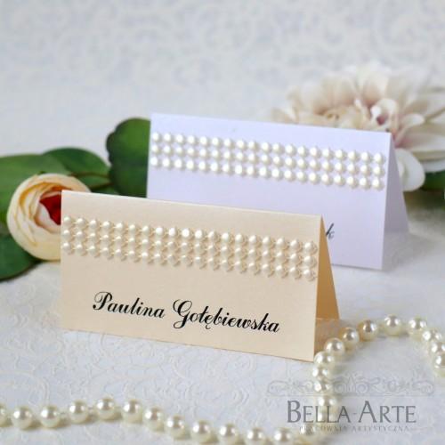 Winietki na stół Glamour Perłowe