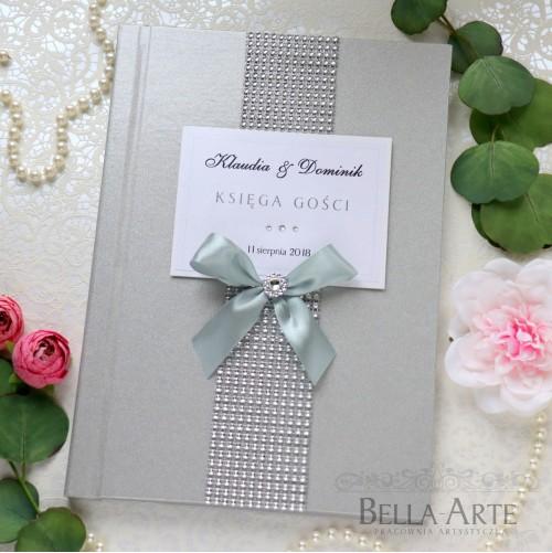 Perłowa srebrna księga gości