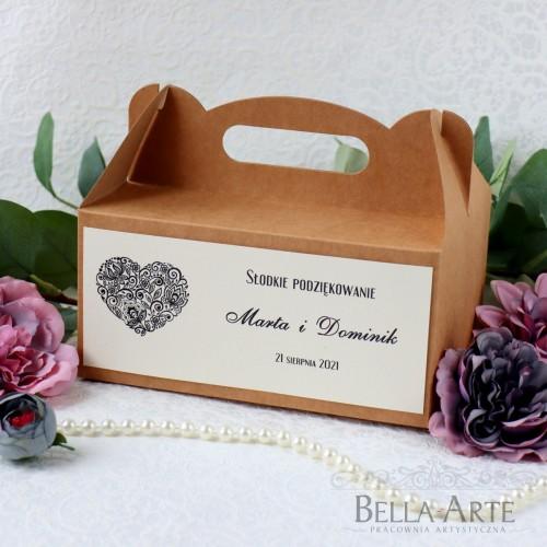 Ekologiczne pudełko na ciasto SERCE Rustykalne