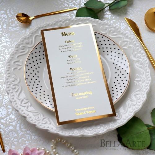 Jednokartkowe Menu weselne Mirror Złote
