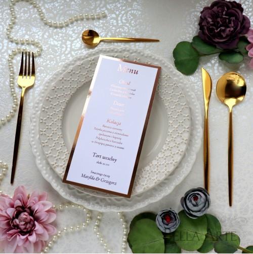Jednokartkowe Menu weselne Mirror Różowe Złoto