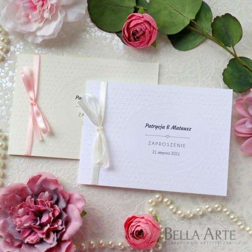 Zaproszenia na ślub ślubne z tłoczeniem kropki