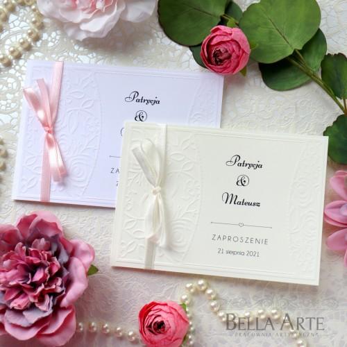Zaproszenia na ślub ślubne z tłoczeniem róże