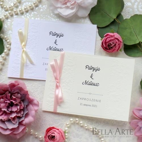 Zaproszenia na ślub ślubne z tłoczeniem kwiatki