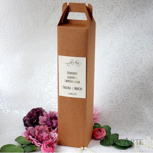 Ekologiczne Złocone Rustykalne Weselne Pudełko na Alkohol Wódkę Wino