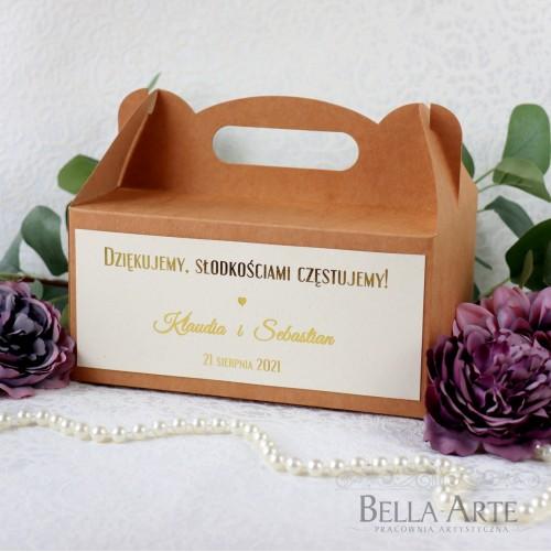 Ekologiczne Złocone pudełko na ciasto Kraft