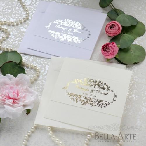 Złocone Srebrne zaproszenia ślubne Glamour