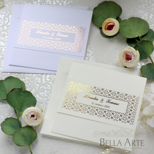 Złocone Geometryczne zaproszenia ślubne Glamour