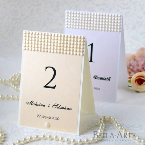 Numer Perłowy stołów weselnych Glamour