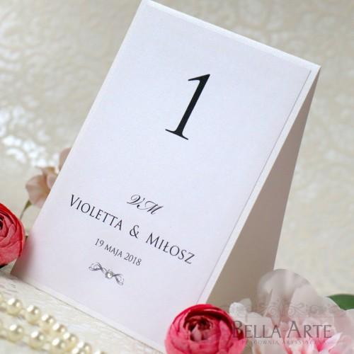 Numer stolików na sali weselnej Perłowe